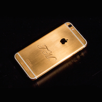 24k gold iPhone 6 with client's initials and 2 diamonds